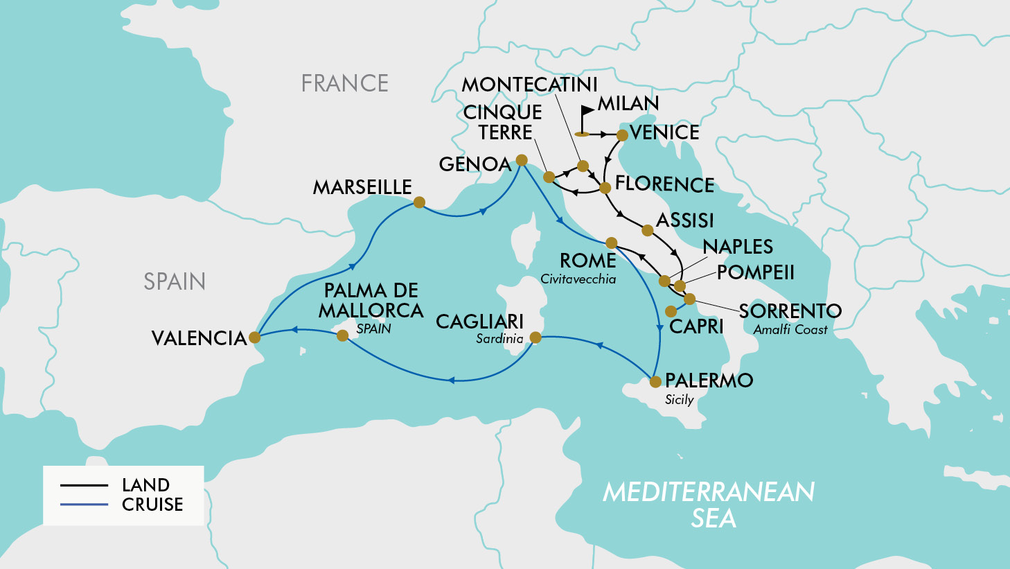 Map Of Italy And France With Cities.19 Day Taste Of Italy The Med Tripadeal