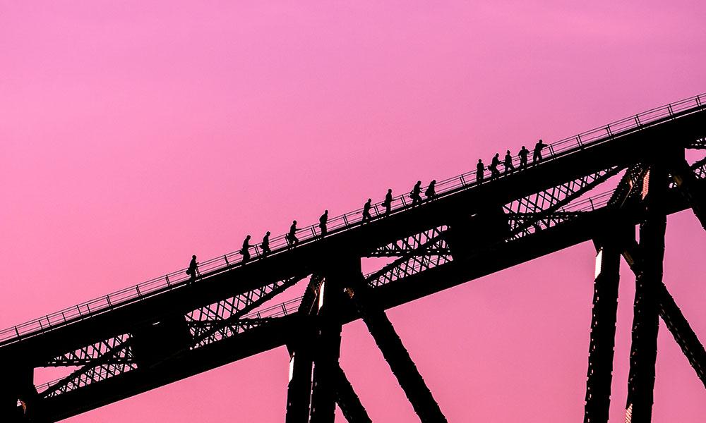 En route to the summit of Sydney Harbour Bridge