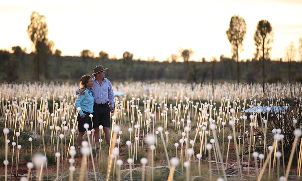 Bruce and Serena Munro at the Field of Light