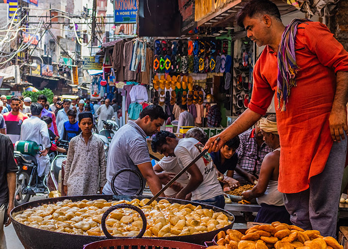 Indian snacks prepared in Delhi