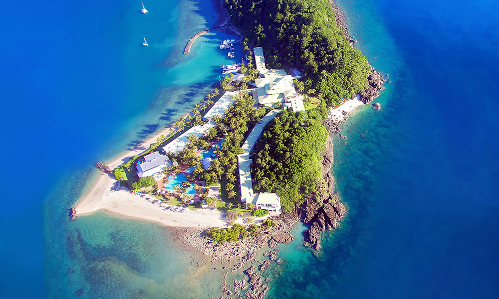 An aerial view of Daydream Island