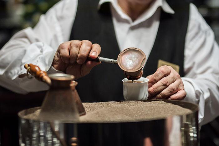 Making authentic Turkish coffee