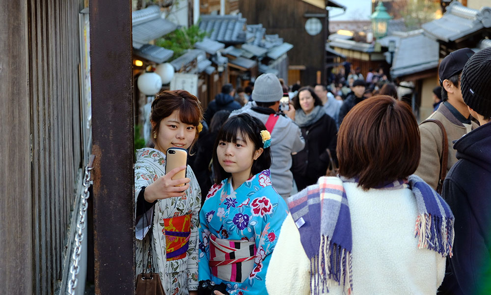 Locals posing for a photo in Higashiyama, Kyoto